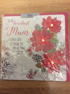 Beautiful Large Luxury Christmas Card. To The Loveliest Mum. Approx 20x20cm