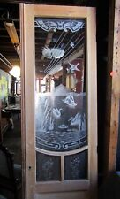 Tall Antique Etched Cut Glass Door W Swans And Birds