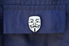 Guy Fawkes Anonymous Lapel Pin V For Vendetta Black White Enamel Mask Rubber