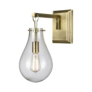 Elk Lighting Brass Tear 1-Light Wall Sconce, Antique Brass/Clear - D4245