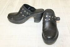 Born Shoes Marney Studded Leather Clogs, Women's Size 10 M, Black (Damaged)