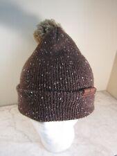 Yellowstone Club Cirque Brown Tweedy Knit Pom Pom Beanie Hat Acrylic One Size