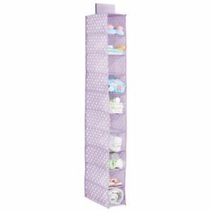 mDesign Kids Fabric Over Closet Rod Hanging Storage - Light Purple/White