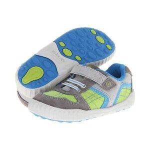 NIB Stride Rite Athletic Shoes Travis Gray Lime Blue 4 M