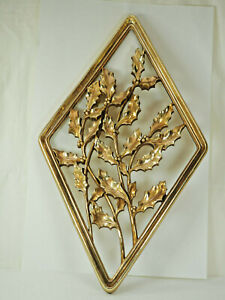 """Gold holly Mid-Century Diamond 17 X 10""""  Wall Hanging Decor Syroco Products Co."""