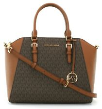 Michael Kors Ciara PVC Satchel Bag Brown Logo Monogram Large Handbag