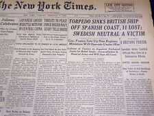 1938 FEB 1 NEW YORK TIMES - TORPEDO SINKS BRITISH SHIP OFF SPANISH COAST- NT 618