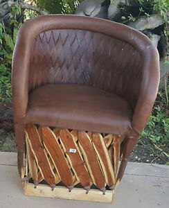 Mexican Equipale Woven Back Cushioned Chair - Tobacco 016T