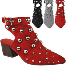 New Ladies Womens Studded Low Block Heel Ankle Boots Party Evening Sandals Size