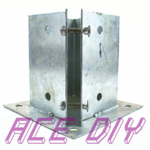 Bolt Down Fence Post Support Galvanised | Square Wooden Posts Holder Grip Anchor