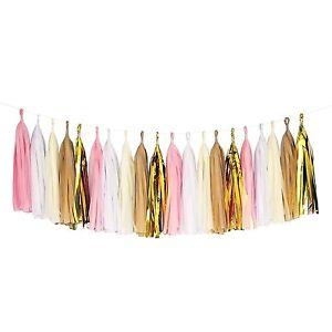 Pink White Ivory Tan Gold White Tassel Garland Banner Party Decoration Wedding