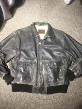 "Levi's Men's Distressed Brown Leather Flight Bomber Jacket Sz 42 ""faux Sherpa"""