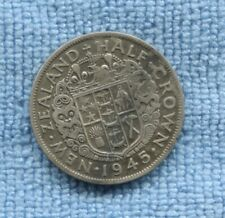 1945 SILVER New Zealand  NZ Half Crown Coin M-717