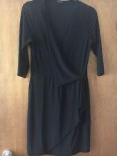 River Island Black Bodycon LBD Dress 3/4 Sleeve Christmas Party NYE Size 10
