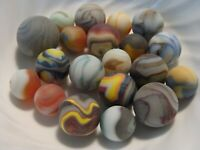 20 Beach Style Sea Glass Multicolor Swirl Marbles Oxblood Sandstorm Lot #2