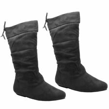 Womens Ladies Suede Midcalf Pull on Flat BOOTS Shoes Black Fashion Size Fb-491 F 8