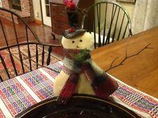 Precious Little Handmade Felt Snowman With Red Cardinal