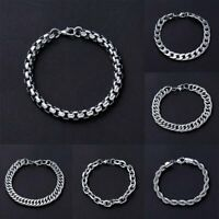 Men's Stainless Steel Chain Link Bracelets Wristband Bangle Silver Jewelry Punk