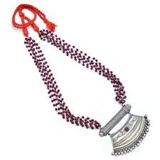 Indian Silver Antique Necklace Red Gemstones Beads Bollywood Style Jewellery