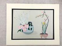 1956 Vintage Japanese Print Plum Blossom Daffodils Ikebana Flower Arrangement