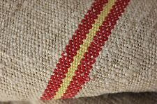 Grain sack 10.3 Yds Orange Yellow material grainsack fabric Old homespun Rare