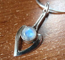 Moonstone Pendant Pointer 925 Sterling Silver Round Cabochon New