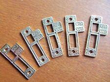 Five New Fancy Cast Brass Door Jamb Strike Plates - Bright