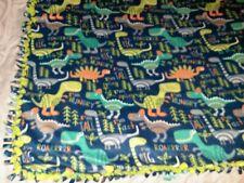 "WARM HANDMADE 2 layer fringe tie blanket/throw BABY Dinosaurs Roar Trees 60""×54"""