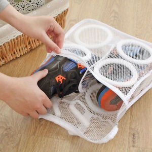 1Pc Home Laundry Mesh Polyester Sneaker Wash Dry Bag White fabric shoes Cleaning