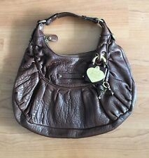 Juicy Couture Hobo Handbag Soft Brown Pebbled Leather Lock Key Charm