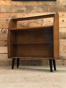 Mid Century, Retro, Vintage, Low Glass Cabinet with Shelves, 1960s