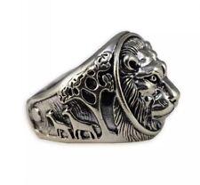 Solid Sterling Silver 925 Ring Elvis Lion Head Skull Band - UK