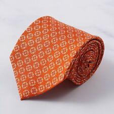 E.Marinella Napoli Dark Orange Floral Medallion Print Silk Tie
