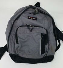 Vintage EastPak Zip Pocketed Gray Black 2 Strap Backpack Bag MADE IN USA