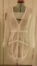 Celebrity Style Missguided Panelled - Plunge Ivory lace dress size 12