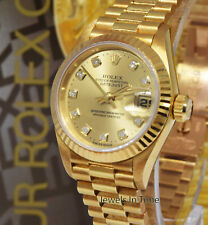Rolex Datejust President 18k Gold Diamond Dial Ladies Watch Box/Papers W 6917