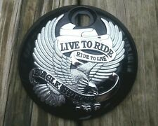 (NEW) Black w/chrome Live to Ride Eagle Fuel Door for Harley Touring 08-Later