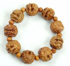 Unisex Hand-carved Lions head Wooden Beaded Bracelet Crafts Elastic Bracelet