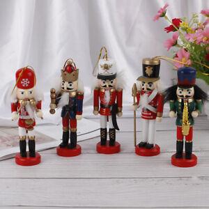 5pcs 12cm Wooden Nutcracker Soldier Merry Christmas Decoration Pendant Ornam -qk