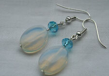 Unique handmade oval opalite & blue crystals silver plated earrings + stoppers