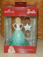 Hallmark 2016 Holiday Barbie Green Dress with Hook Red Box Christmas Ornament
