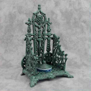 CAST IRON INKWELL with PORCELAIN FLOW BLUE INKPOT Victorian Style