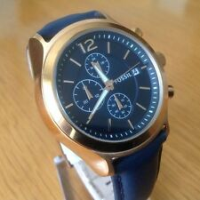 Fossil Men's Rose Gold And Navy Watch  Navy Leather Band BQ1487