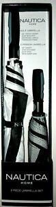 New Design Black/White Nautica 2-Pc. Golf Umbrella Set with auto-open design