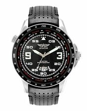Aviator AVW7770G84 F Series World Time Pilot Black Strap & Dial Fathers Day