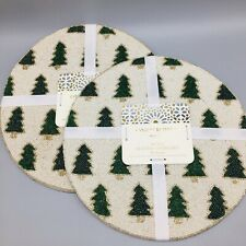 """x4 Cynthia Rowley Beaded Christmas Tree Placemat Set Holiday Green Gold Glam 15"""""""