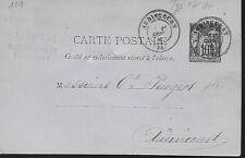 ENTIER  POSTAL  CARTE POSTALE  TYPE SAGE 1881