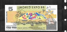 Australia Expo 1988 Au-Unc $5 Dollar Banknote Paper Money Currency Note