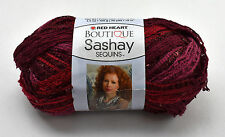 Red Heart Boutique Sashay Sequins Ruffle Scarf Yarn - 1 Skein Cabernet #1938