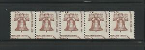 US EFO, ERROR Stamps: #1618 Liberty Bell. Miscut coil strip of 5! MNH
